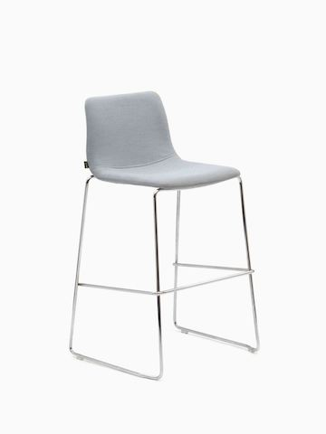 A light gray naughtone Viv Stool with a metal base, viewed from the front.
