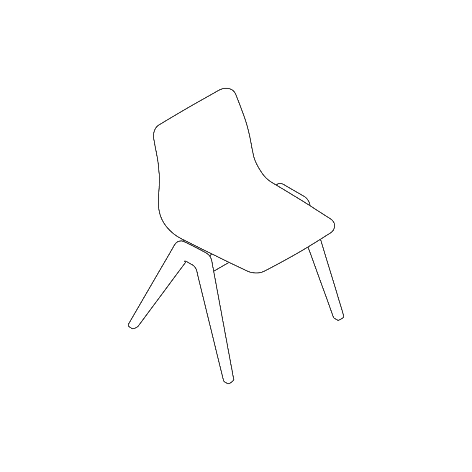 A line drawing of Viv Wood Chair.