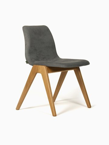 A dark grey suede naughtone Viv Wood Chair, viewed at an angle.