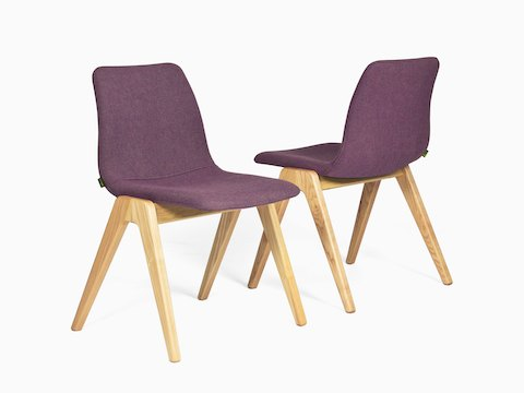 Two purple naughtone Viv Wood Chairs placed side by side. One is viewed from the front at an angle, the other is viewed from the back at an angle.