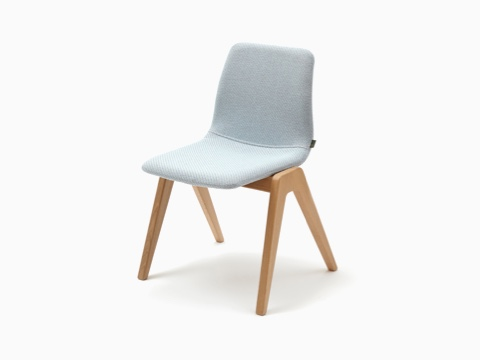 A light blue naughtone Viv Wood Chair, viewed at an angle.
