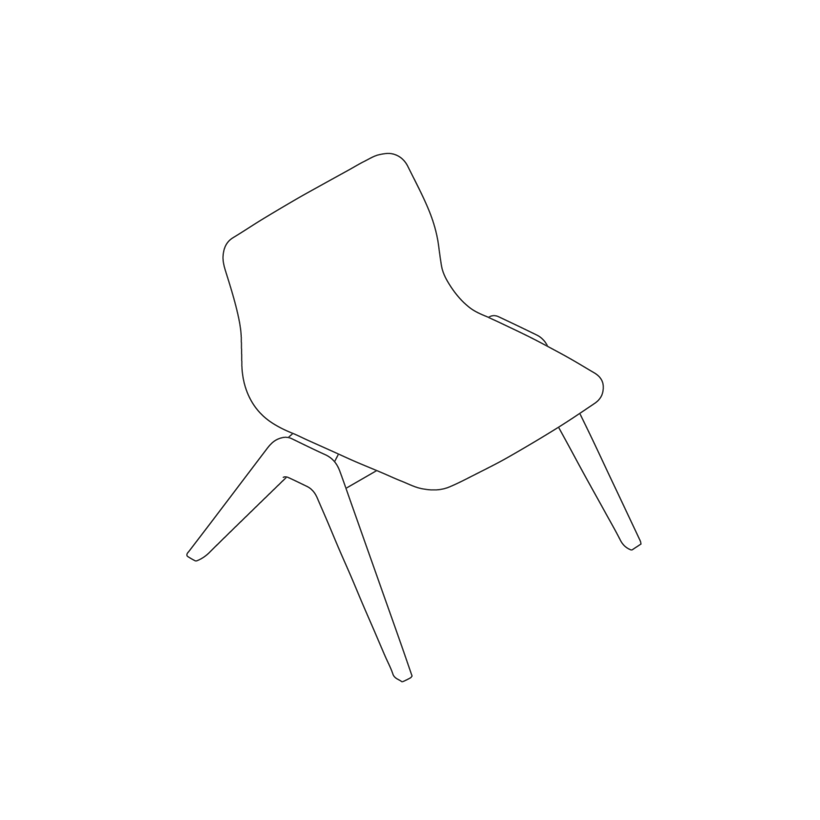 A line drawing of Viv Wood Lounge Chair.