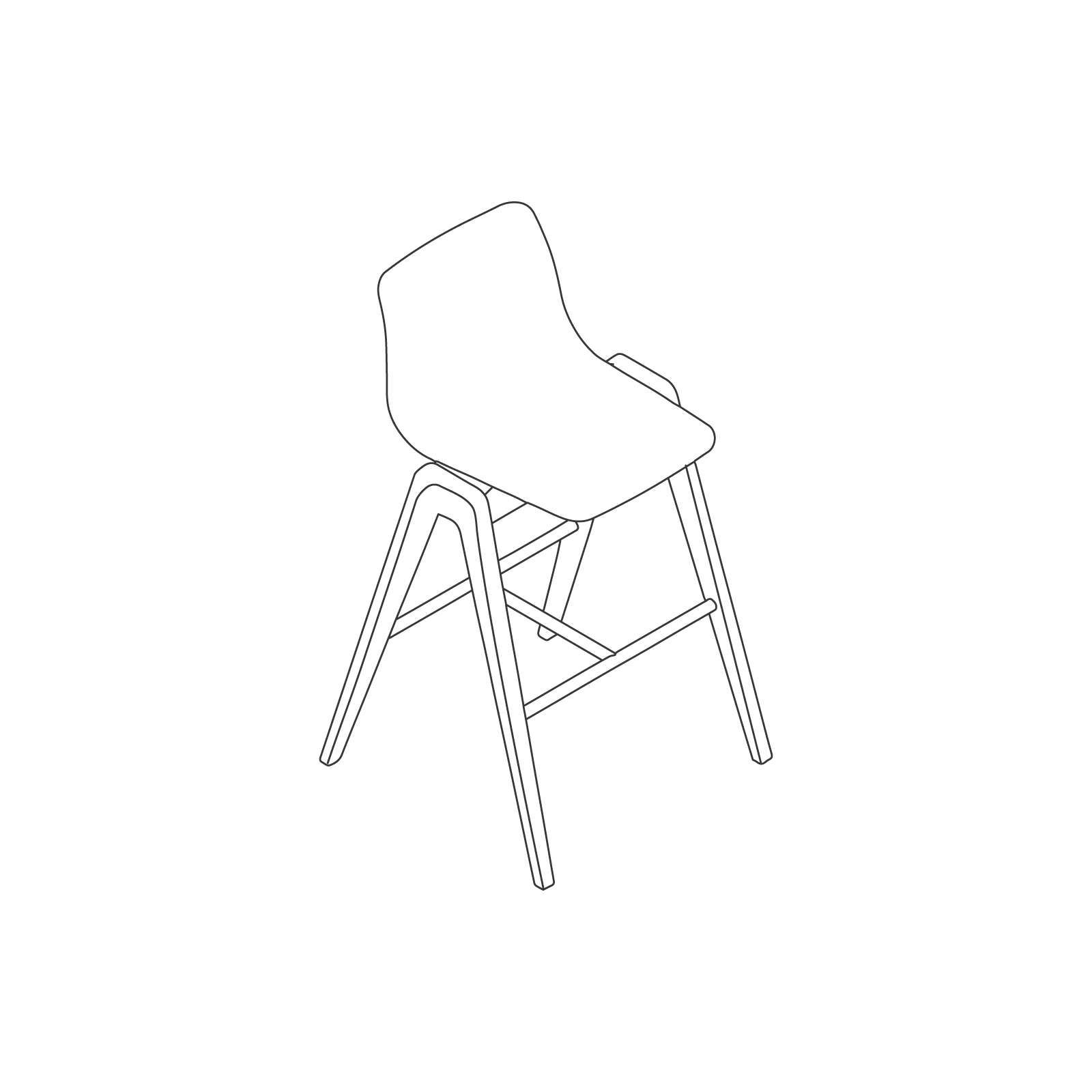 A line drawing of Viv Wood Stool–Bar Height.