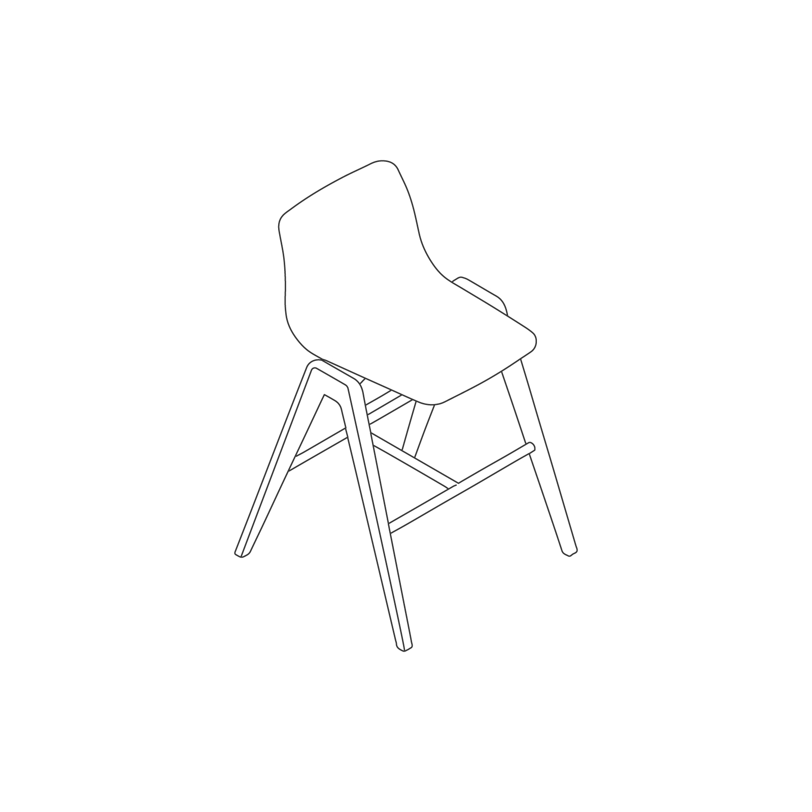A line drawing of Viv Wood Stool–Counter Height.