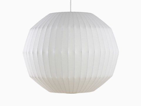 A white Nelson Angled Sphere Bubble Pendant lamp.