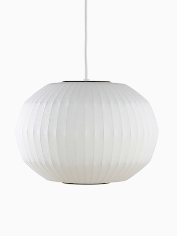 A white hanging lamp. Select to go to the Nelson Angled Sphere Bubble Pendant product page.