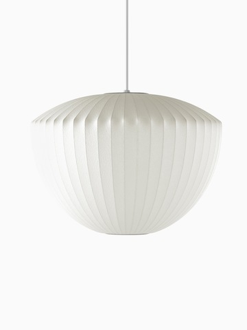 A white hanging lamp. Select to go to the Nelson Apple Bubble Pendant product page.