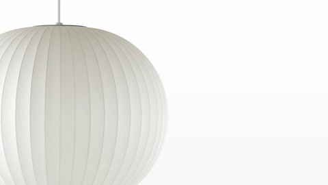 Close view of the Nelson Ball Bubble Pendant white hanging lamp.