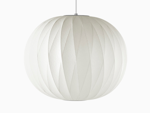 A white hanging Nelson Ball CrissCross Bubble Pendant lamp.