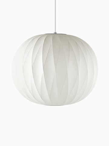A white hanging lamp. Select to go to the Nelson Ball Crisscross Bubble Pendant product page.