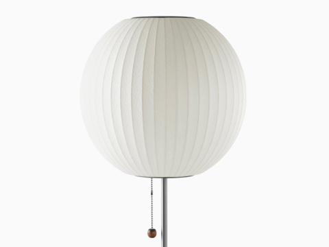 A white Nelson Ball Lotus Table Lamp.
