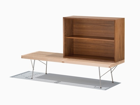 A Nelson Basic Cabinet Series open storage module with shelf sits atop a Nelson Platform Bench.