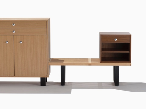Two Nelson Basic Cabinet Series storage modules of different sizes, configurations, and finishes.