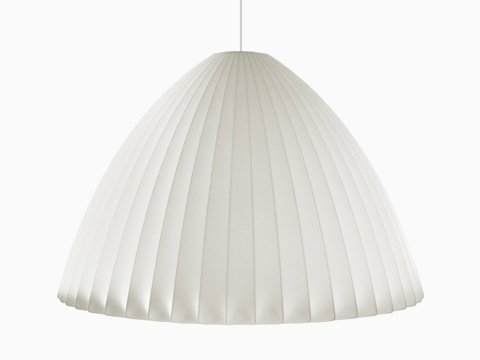 A bell-shaped hanging Nelson Bell Bubble Pendant lamp.