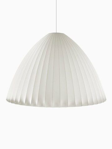 A white hanging lamp. Select to go to the Nelson Bell Bubble Pendant product page.