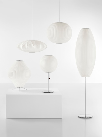 Five Nelson Bubble Lamps, including Pendant, Tripod, Table, and Floor models.