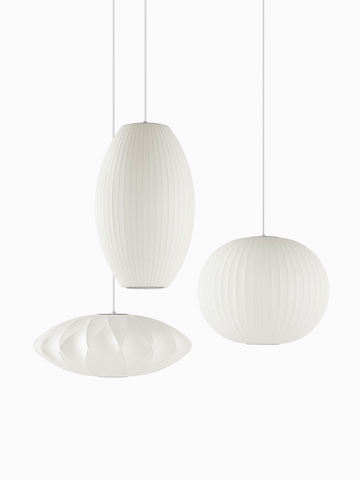 Three white Pendant lamps.