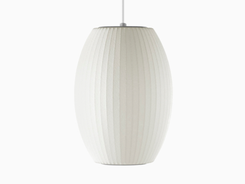 A white Nelson Cigar Bubble Pendant hanging lamp.