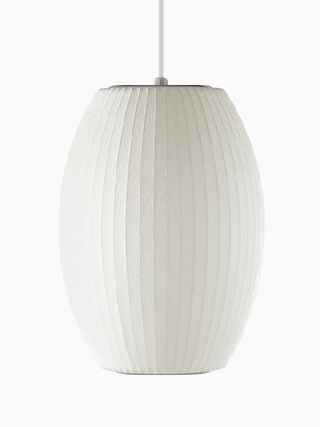 A white hanging lamp. Select to go to the Nelson Cigar Bubble Pendant product page.