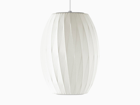 A Nelson Cigar CrissCross Bubble Pendant white hanging lamp.