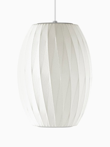 A white hanging lamp. Select to go to the Nelson Cigar CrissCross Bubble Pendant product page.