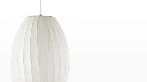 Close view of the shade on a Nelson Cigar CrissCross Bubble Pendant lamp.