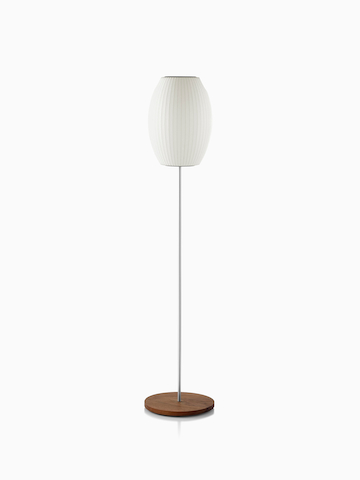 Nelson cigar lotus floor lamp accent lighting herman miller a white nelson cigar lotus floor lamp with a small shade and a walnut covered aloadofball Gallery