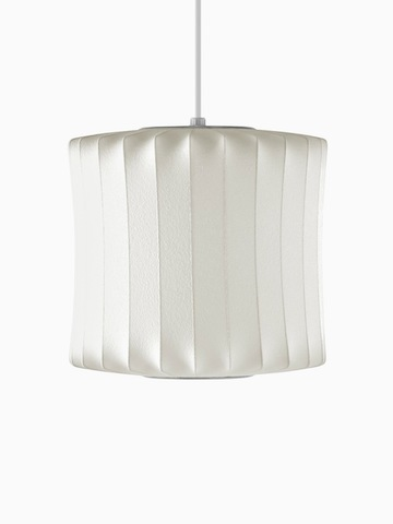 A white hanging lamp. Select to go to the Nelson Lantern Bubble Pendant product page.