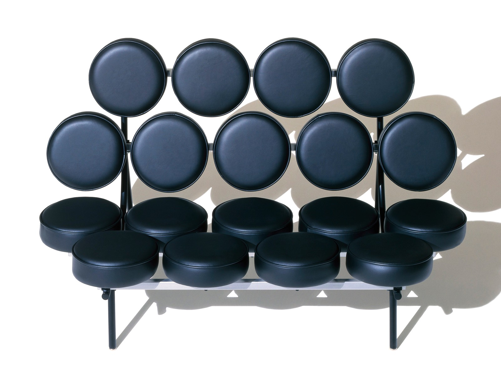 A Black Leather Nelson Marshmallow Sofa Viewed From The Front