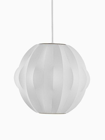 A white hanging lamp. Select to go to the Nelson Orbit Bubble Pendant product page.
