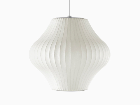 A Nelson Pear Bubble Pendant white hanging lamp.