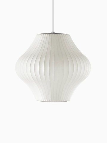 A white hanging lamp. Select to go to the Nelson Pear Bubble Pendant product page.