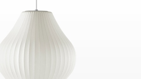 Close view of a Nelson Pear Bubble Pendant hanging lamp.