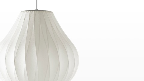 Close view of a the shade of a Nelson Pear CrissCross Bubble Pendant lamp.