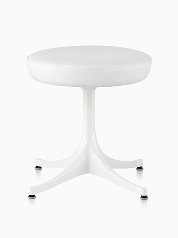 Nelson Pedestal Stool with a white leather seat and white base.
