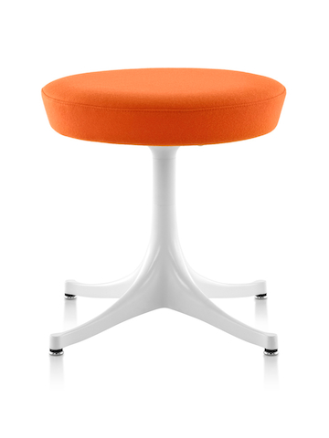 Nelson Pedestal Stool with an orange upholstered seat and white base.