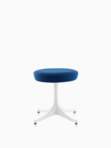 Blue Nelson Pedestal Stool with white base.