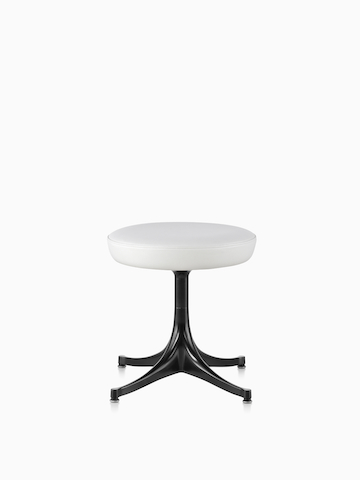 White leather Nelson Pedestal Stool with black base. Select to go to the Nelson Pedestal Stool product page.