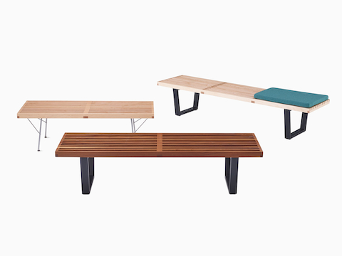 Walnut Nelson Platform Bench with black wood legs, viewed from an angle.