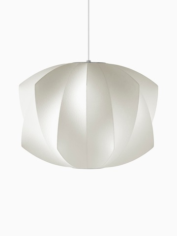 A white hanging lamp. Select to go to the Nelson Propeller Bubble Pendant product page.