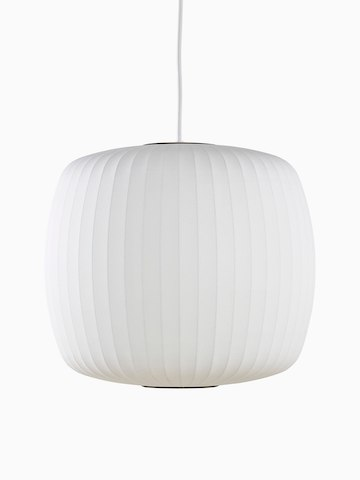 A white hanging lamp. Select to go to the Nelson Roll Bubble Pendant product page.