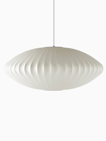A white hanging lamp. Select to go to the Nelson Saucer Bubble Pendant product page.
