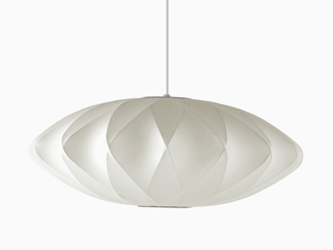 A white Nelson Saucer CrissCross Bubble Pendant lamp.