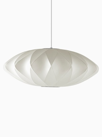 A white hanging lamp. Select to go to the Nelson Saucer Crisscross Bubble Pendant product page.