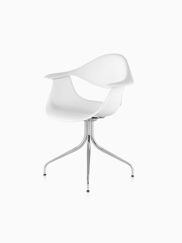 White Nelson Swag Leg Armchair, viewed from a 45-degree angle.