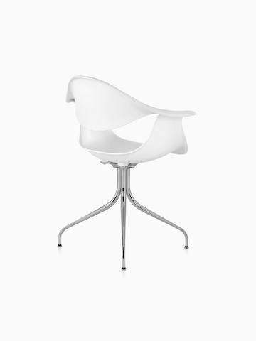 Three-quarter rear view of a white Nelson Swag Leg Armchair.