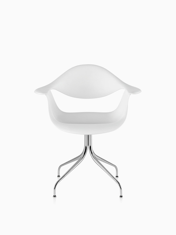 White Nelson Swag Leg Armchair, viewed from the front.