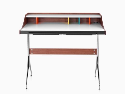 Front view of a Nelson Swag Leg Desk with a white laminate top and colorful cubbyholes.