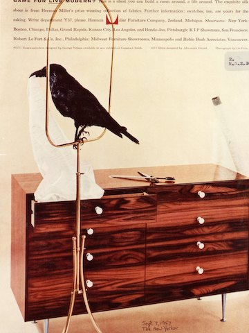 A 1957 ad from The New Yorker showing a chest from the Rosewood Cabinet Series, designed by George Nelson.