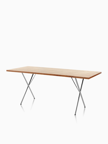 A rectangular Nelson X-Leg Table with a medium veneer top. Select to go to the Nelson X-Leg Table product page.